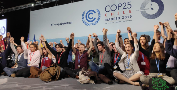 Young activists take the stage at the COP25 in Chile (2019) and singing together. First time.