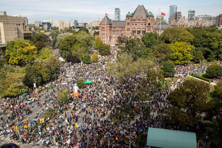 500,000 people filled the streets in a climate change strike in Toronto, Ontario, Canada September 27, 2019.
