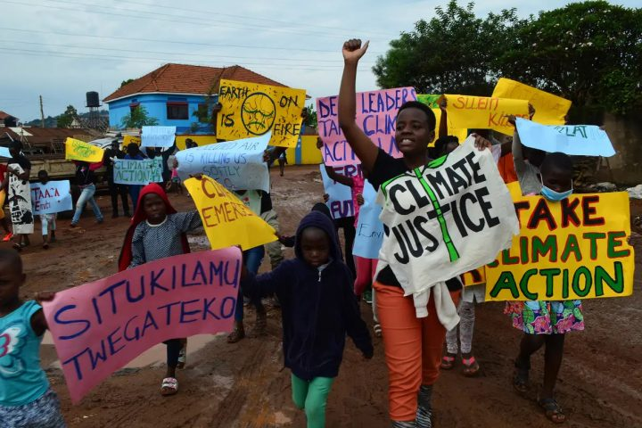 Climate protestors, Uganda. Climate change is already changing peoples' lives.